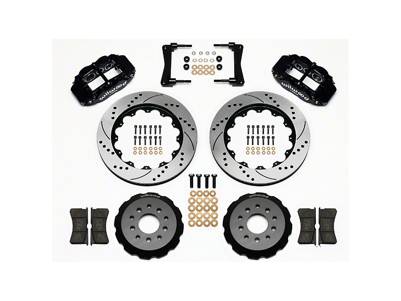 Wilwood Superlite 6R Front Big Brake Kit w/ 14 in. Drilled & Slotted Rotors - Black Calipers (05-14 All)