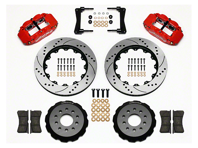 Wilwood Superlite 6R Front Brake Kit w/ 14 in. Drilled & Slotted Rotors - Red (05-14 All)