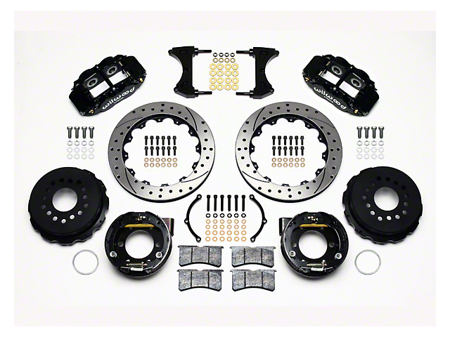 Wilwood Superlite 6R Rear Big Brake Kit with Drilled and Slotted Rotors; Black Calipers (05-14 All)