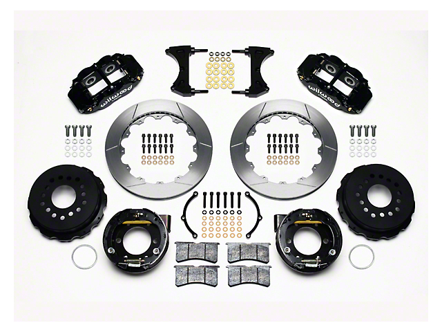 Wilwood Superlite 6R Rear Big Brake Kit with Slotted Rotors; Black Calipers (05-14 All)