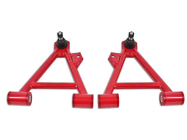 BMR Non-Adjustable Front Lower Coilover A-Arms - Poly Bushing - Standard Ball Joint - Red (94-04 All)