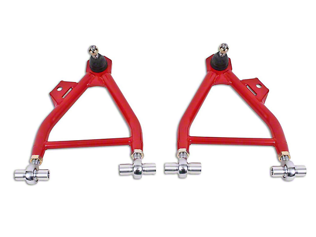 BMR Adjustable Front Lower Coil-Over A-Arms; Rod End; Standard Ball Joint; Red (94-04 All)