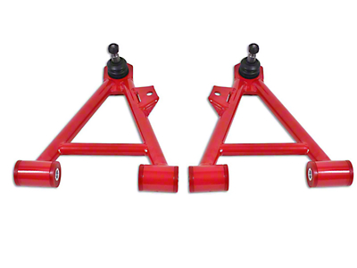 BMR Non-Adjustable Front Lower Coil-Over A-Arms - Poly Bushing - Tall Ball Joint - Red (94-04 All)