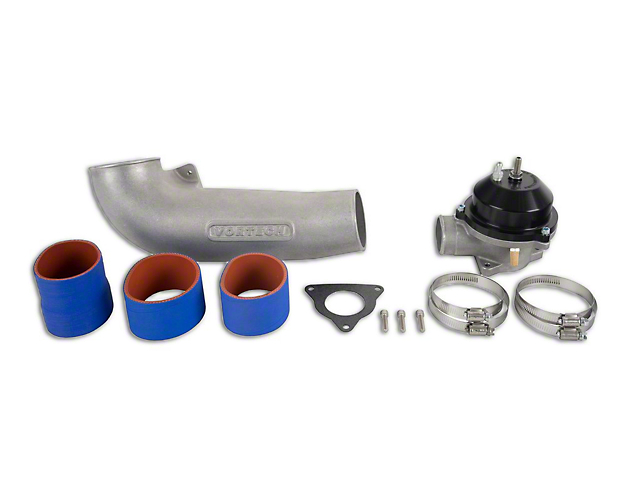 Vortech Discharge Tube Assembly with Maxflow Race Bypass Valve; Satin (86-93 5.0L)