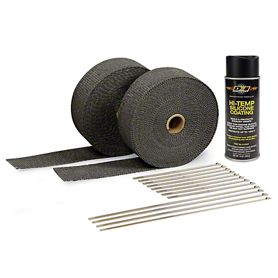 DEI Black Exhaust Wrap & Black Hi-Temp Silicone Coating Kit (79-18 All)