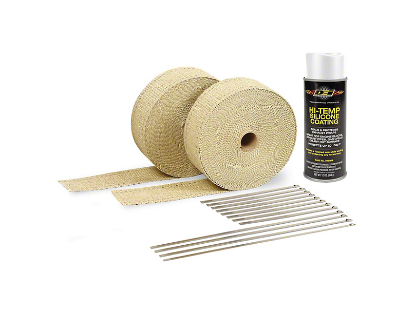 DEI Tan Exhaust Wrap & White Hi-Temp Silicone Coating Kit (79-19 All)