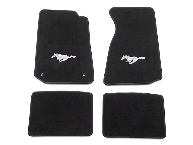 Lloyd Front and Rear Floor Mats with Running Pony Logo; Black (94-98 Coupe)