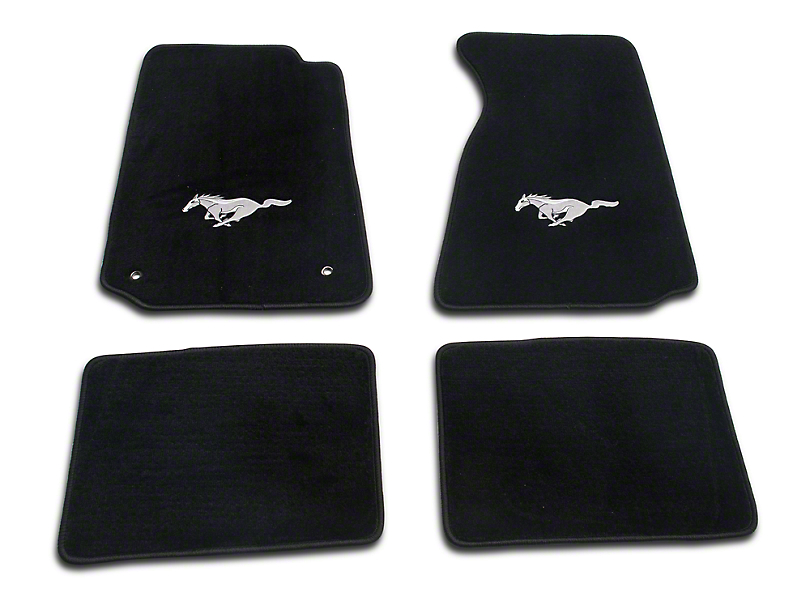 Lloyd Front & Rear Floor Mats w/ Running Pony Logo - Black (99-04 All)