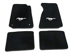 Lloyd Front and Rear Floor Mats with Running Pony Logo; Black (99-04 All)
