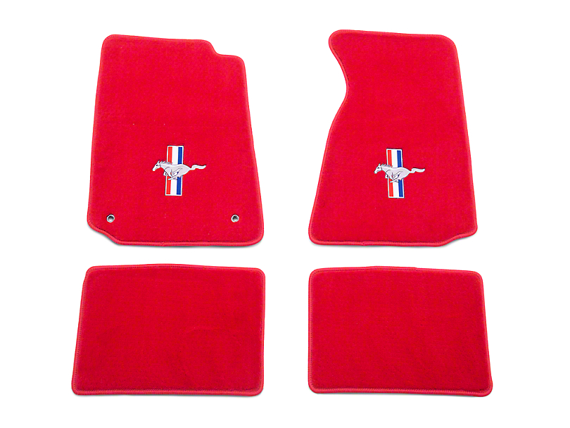 Lloyd Front and Rear Floor Mats with Tri-Bar Pony Logo; Red (99-04 All)