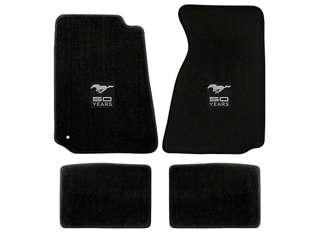 Lloyd Front & Rear Floor Mats w/ 50th Anniversary Logo - Black (94-98 Coupe)