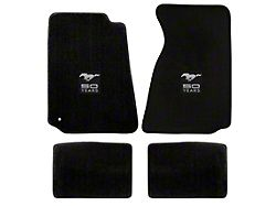Lloyd Front and Rear Floor Mats with 50th Anniversary Logo; Black (94-98 Coupe)