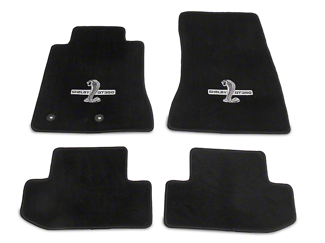 Lloyd Front and Rear Floor Mats with Shelby GT350 Logo; Black (15-20 All)