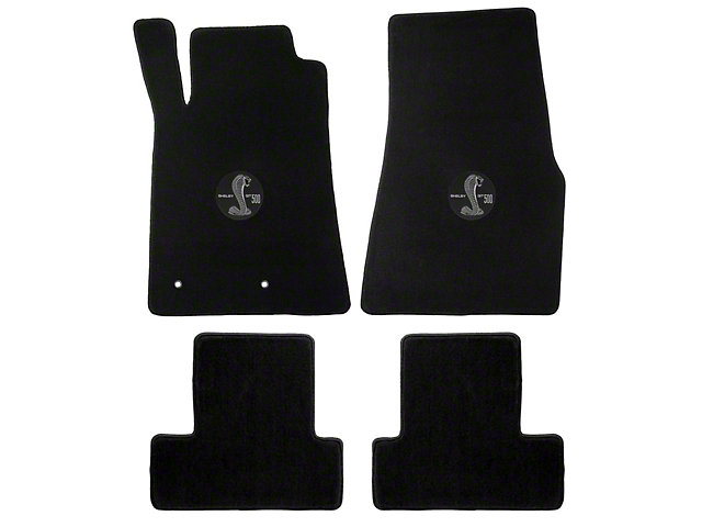 Lloyd Front and Rear Floor Mats with Shelby GT500 Circle Logo; Black (05-10 All)