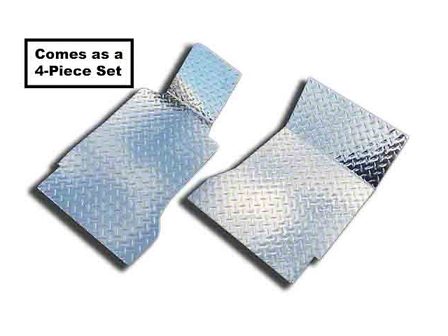 Diamond Plate Front and Rear Floor Mats; Polished (05-09 All)