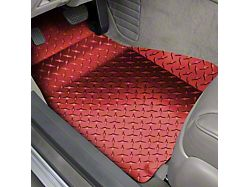 Diamond Plate Front Floor Mats; Red (05-09 All)