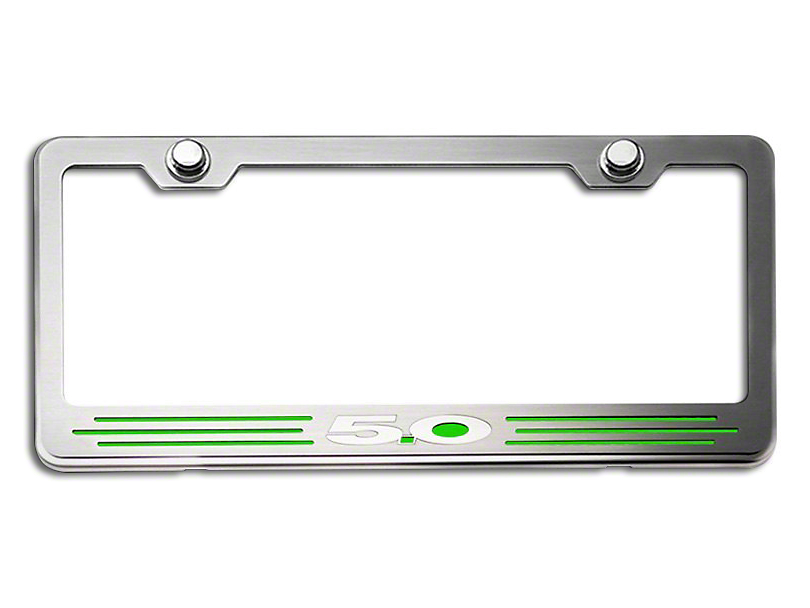 License Plate Frame with 5.0 Logo; Green Carbon Fiber Inlay (Universal Fitment)