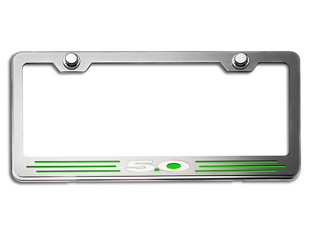 Illuminated License Plate Frame w/ 5.0 Logo - Green Inlay (79-19 All)