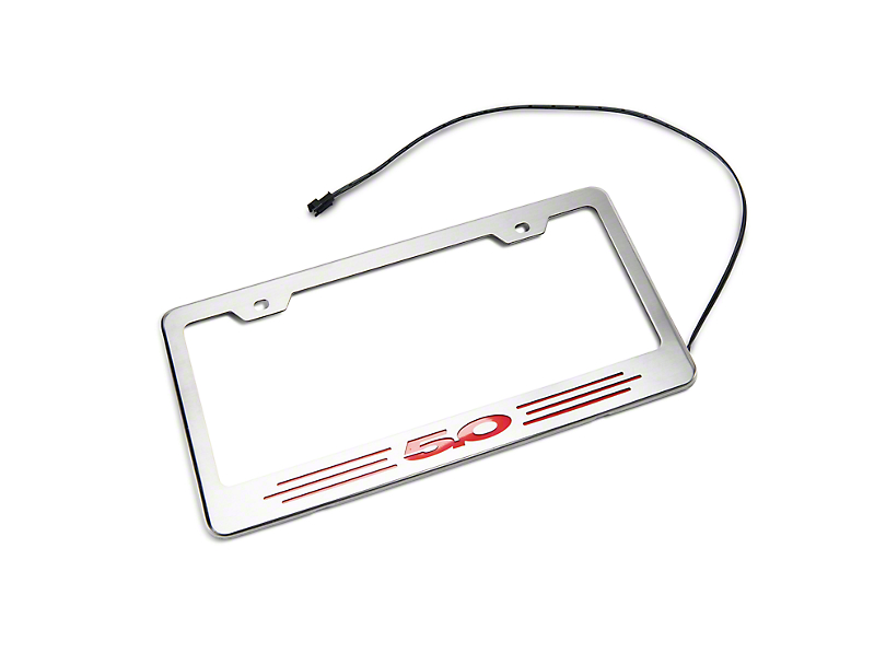 Illuminated License Plate Frame w/ 5.0 Logo - Red Inlay (79-19 All)