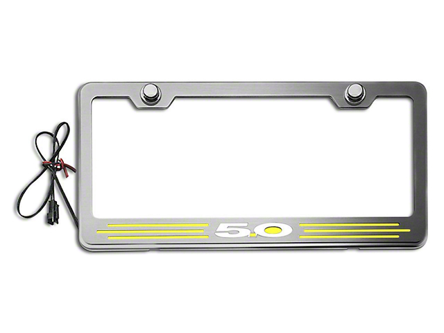 Illuminated License Plate Frame with 5.0 Logo; Yellow Inlay (Universal Fitment)