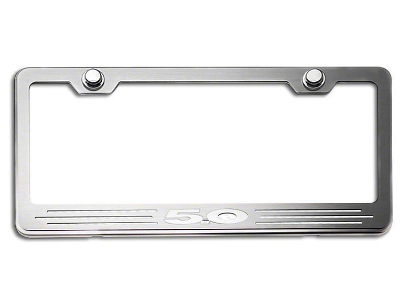 License Plate Frame w/ 5.0 Logo - White Carbon Fiber Inlay (79-19 All)