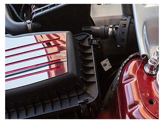 ACC Polished Factory Air Box Accent Plate - Red Carbon Fiber Inlay (15-18 GT, EcoBoost, V6)