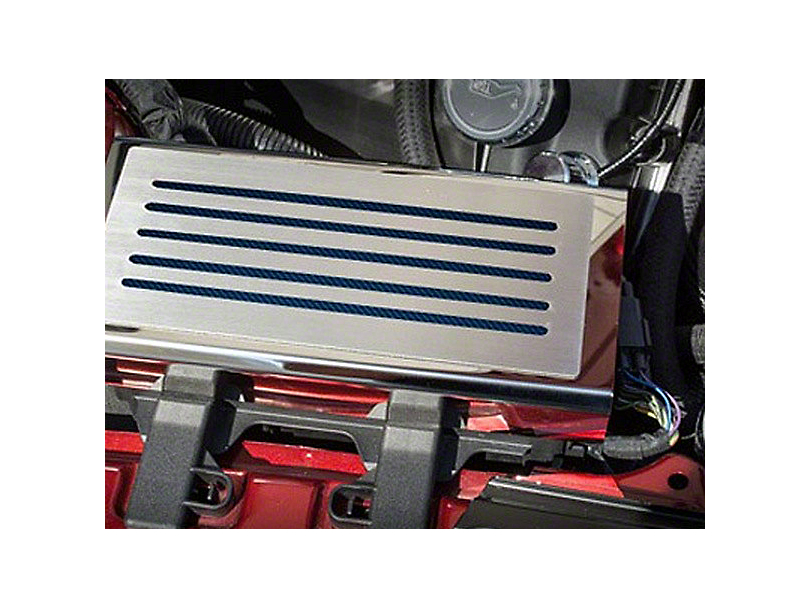 ACC Polished/Brushed Fuse Box Cover - Blue Carbon Fiber Inlay (15-18 All)