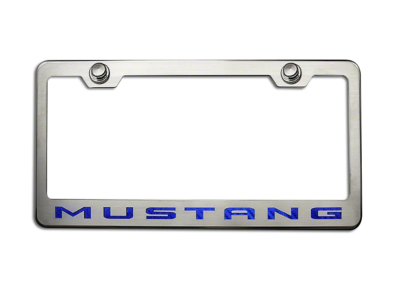 ACC Polished/Brushed License Plate Frame w/ Blue Carbon Fiber 2010 Style Mustang Lettering (79-18 All)