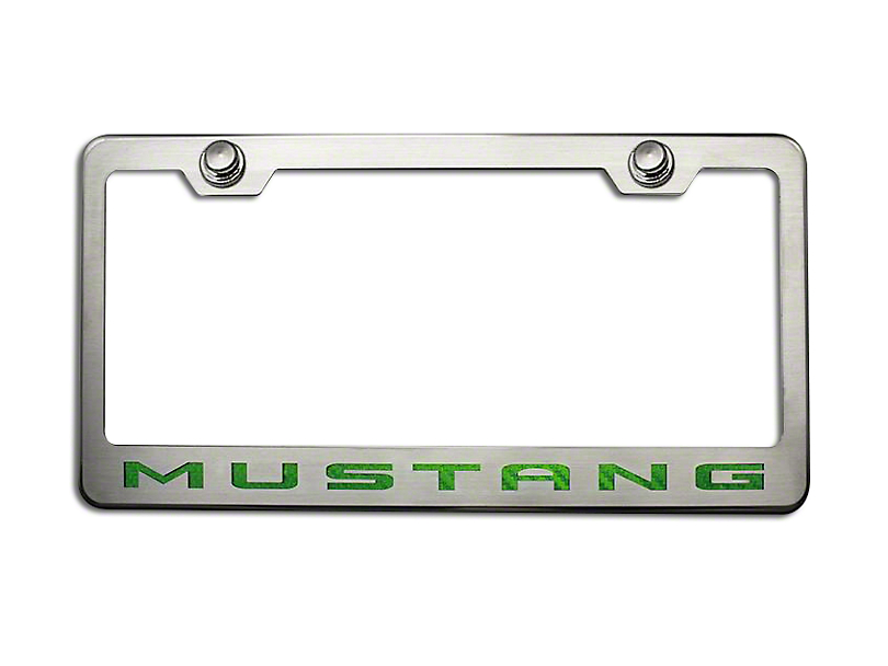 ACC Polished/Brushed License Plate Frame w/ Green Carbon Fiber 2010 Style Mustang Lettering (79-18 All)