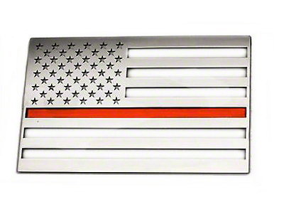 ACC Stainless Steel American Flag Emblem - Polished w/ Thin Red Line (79-19 All)