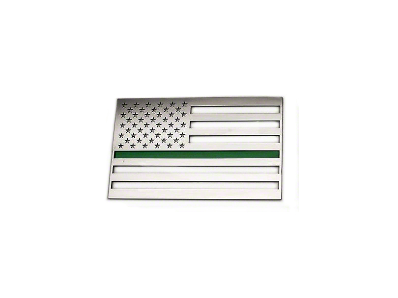 Stainless Steel American Flag Emblem - Polished w/ Thin Green Line (Universal Fitment)