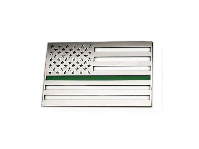 Stainless Steel American Flag Emblem; Polished with Thin Green Line (Universal Fitment)