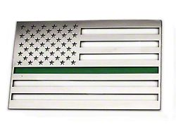 Stainless Steel American Flag Emblem; Polished with Thin Green Line; Driver Side Only (Universal Fitment)