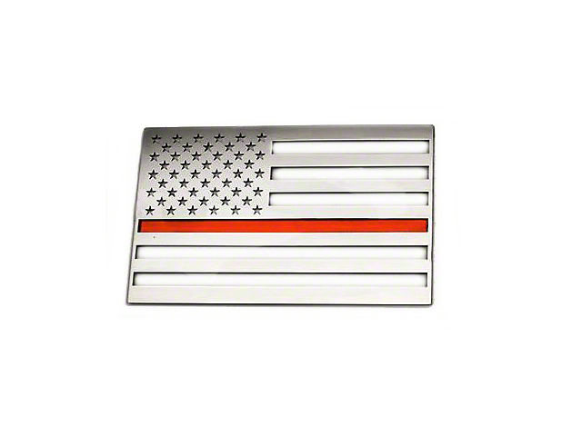 Stainless Steel American Flag Emblem - Brushed w/ Thin Red Line (79-19 All)