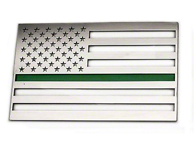 Stainless Steel American Flag Emblem - Brushed w/ Thin Green Line (79-19 All)