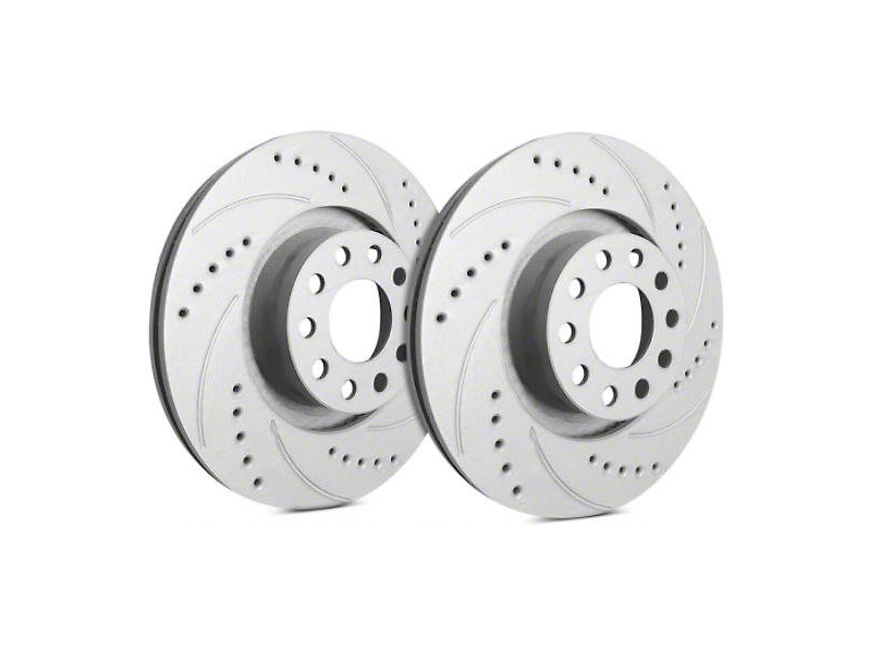 SP Performance Cross-Drilled & Slotted Rotors w/ Gray ZRC Coating - Front Pair (87-06 Jeep Wrangler YJ & TJ)