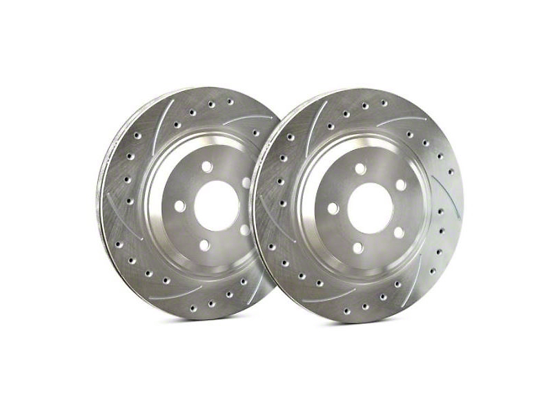 SP Performance Cross-Drilled and Slotted Rotors with Silver Zinc Plating; Front Pair (11-14 GT Brembo; 12-13 BOSS 302; 07-12 GT500)
