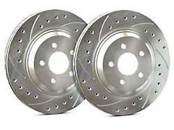 SP Performance Cross-Drilled and Slotted Rotors with Silver Zinc Plating; Rear Pair (05-14 All, Excluding 13-14 GT500)