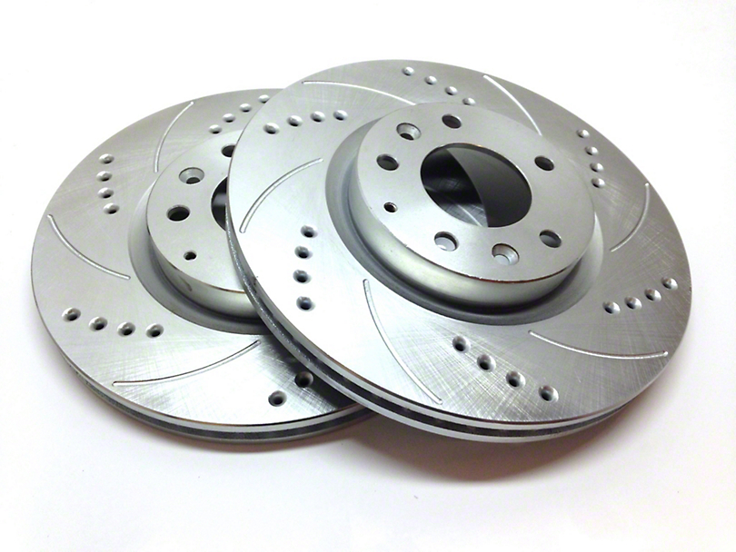 SP Performance Cross-Drilled & Slotted Rotors w/ Silver Zinc Plating - Front Pair (11-14 GT Brembo; 12-13 BOSS 302; 07-12 GT500)