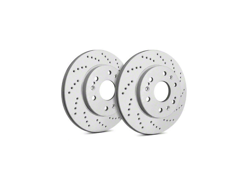 SP Performance Cross-Drilled Rotors with Gray ZRC Coating; Rear Pair (94-04 GT, V6)