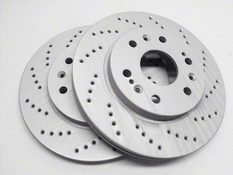 SP Performance Cross-Drilled Rotors w/ Gray ZRC - Rear Pair (94-04 GT, V6)
