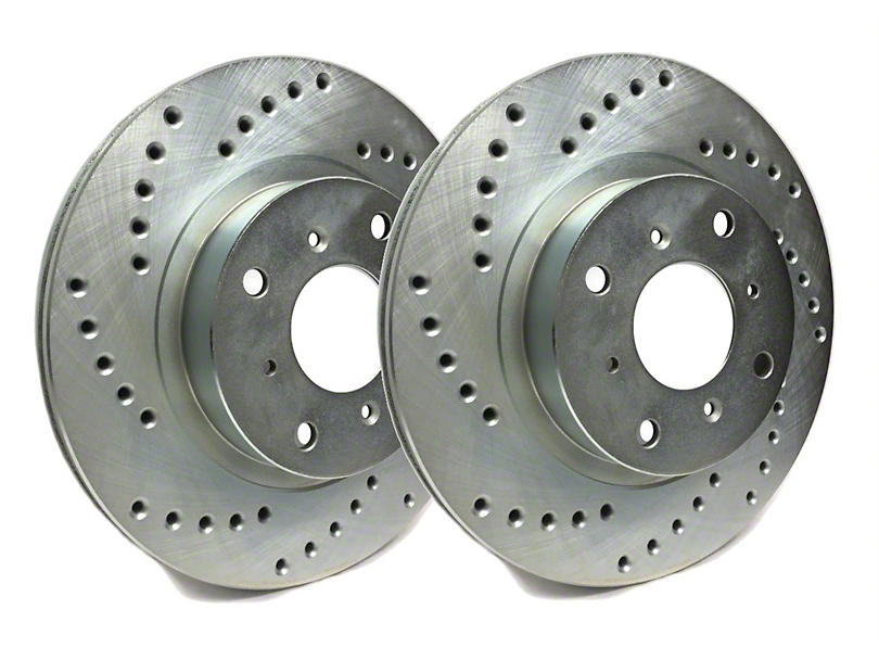 SP Performance Cross-Drilled Rotors with Silver Zinc Plating; Rear Pair (07-18 Jeep Wrangler JK)