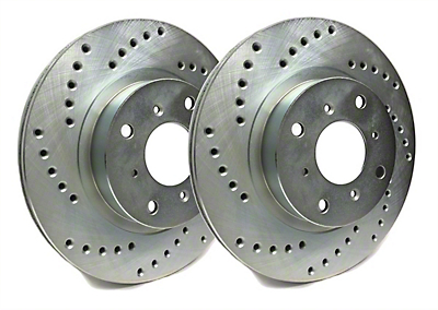 SP Performance Cross-Drilled Rotors w/ Silver Zinc Plating - Front Pair (15-19 Standard GT, EcoBoost w/ Performance Pack)