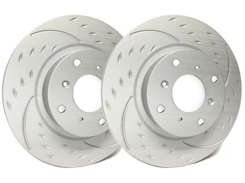 SP Performance Diamond Slot Rotors with Gray ZRC Coating; Rear Pair (03-06 Jeep Wrangler TJ)