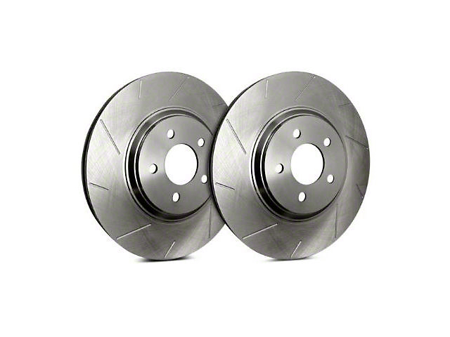 SP Performance Slotted Rotors with Silver Zinc Plating; Rear Pair (04-14 F-150; 15-20 F-150 w/ Manual Parking Brake)