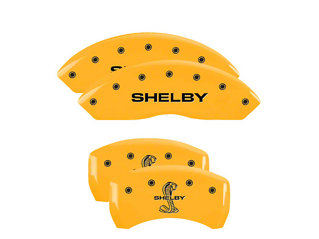 MGP Yellow Caliper Covers with Shelby Snake Logo; Front and Rear (05-09 GT, V6)