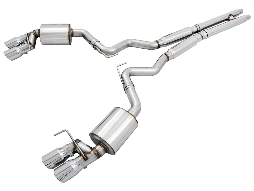 AWE Touring Edition Cat-Back Exhaust w/ Chrome Silver Tips (2018 GT Fastback w/o Active Exhaust)