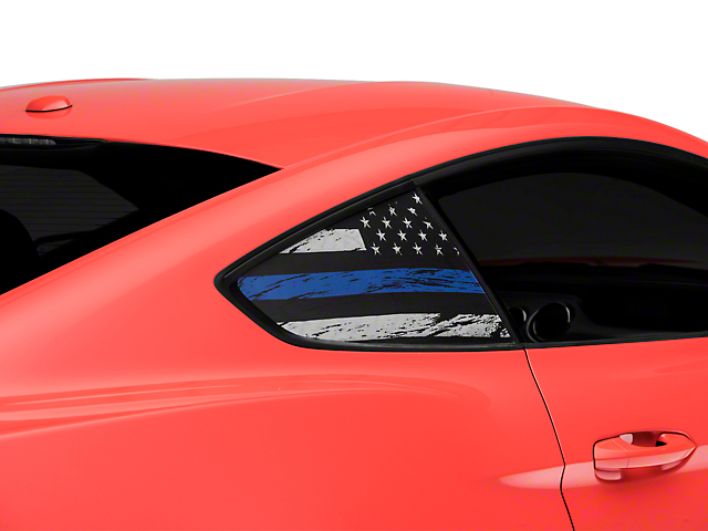 SEC10 Distressed Flag Quarter Window Decals; Blue Line (15-21 All)
