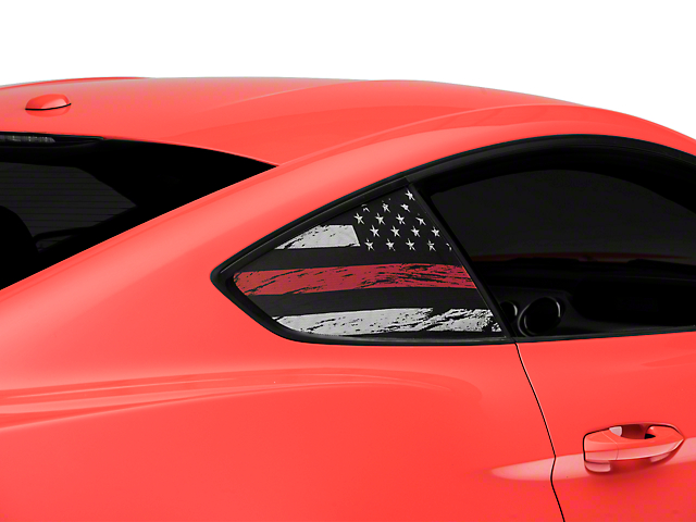 SEC10 Distressed Flag Quarter Window Decals; Red Line (15-21 All)