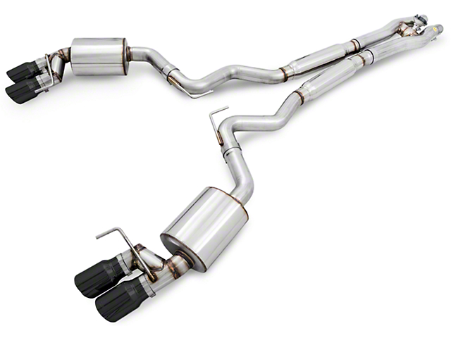 AWE SwitchPath Cat-Back Exhaust w/ Diamond Black Tips (15-17 GT Premium Fastback w/ GT350 Rear Valance)